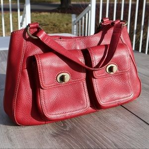 Fossil red tote bag purse